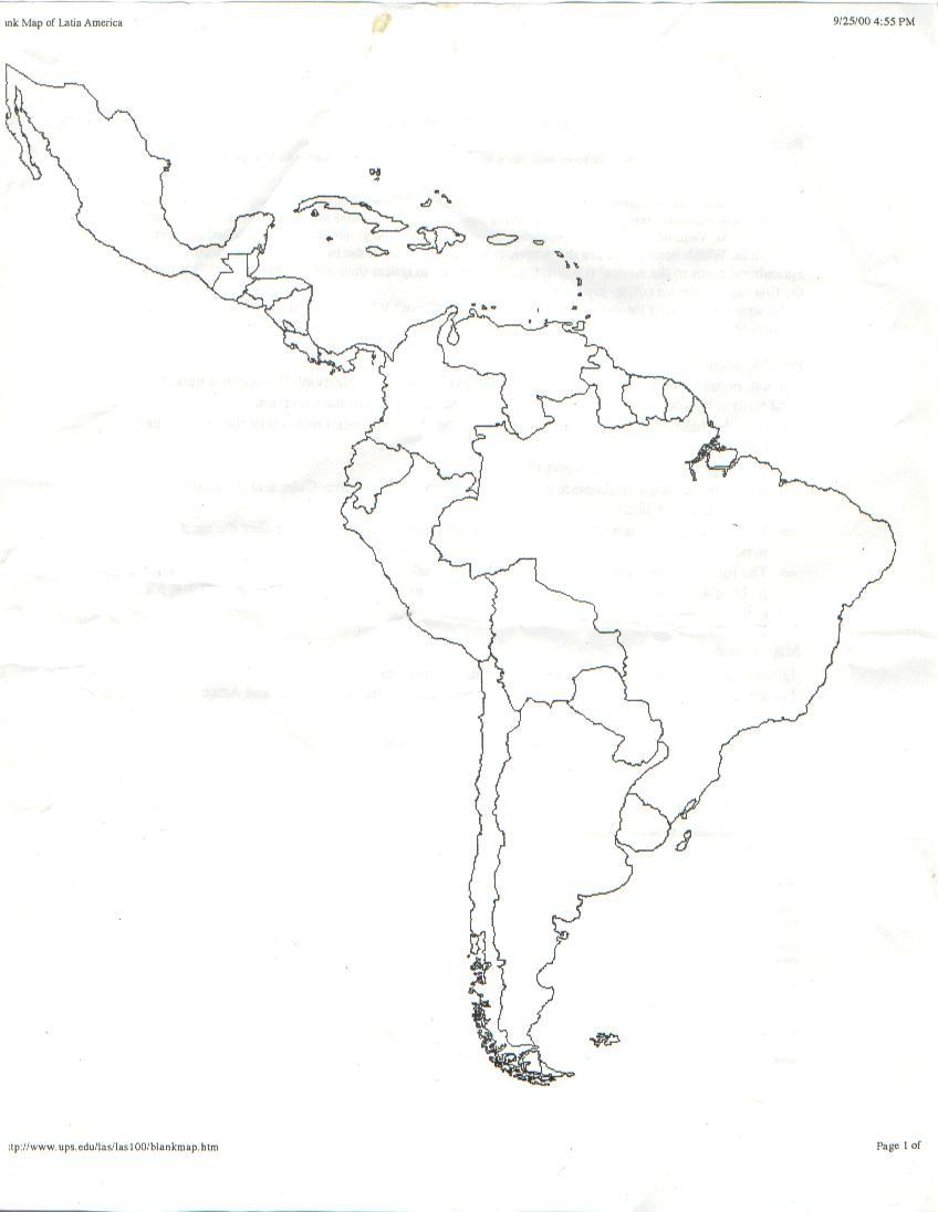 Latin America Map Without Lines
