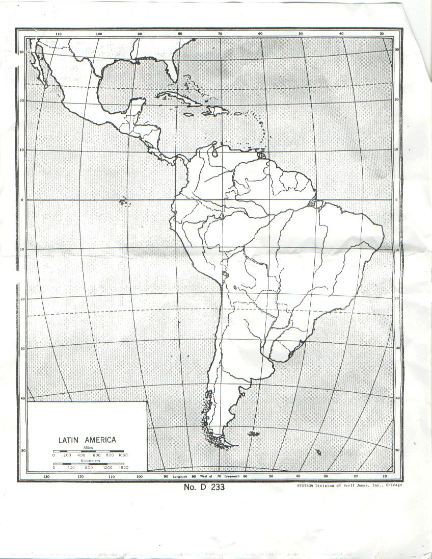 Latin America map with lines of latitude and longitude