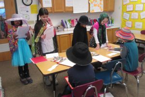Intermediates participate in an Ellis Island simulation